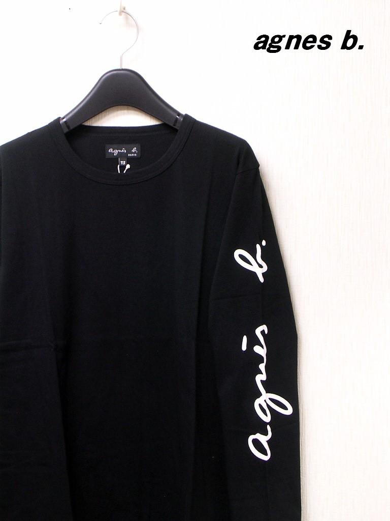 2 Black【agnes b. FEMME SLEEVE LOGO TEE アニエスベー 袖ロゴ Tシャツ カットソー 国内正規品】