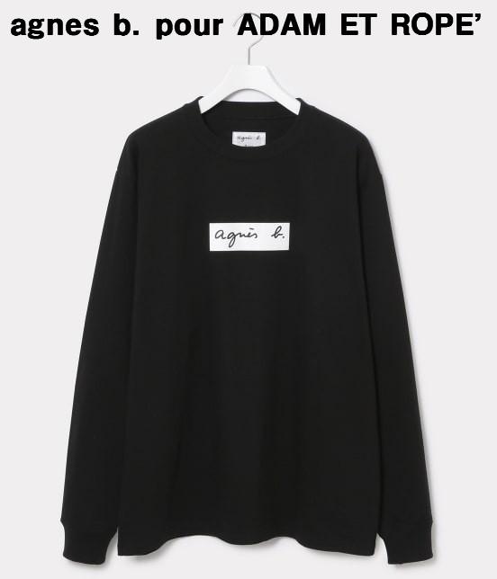 メンズ L 黒【agnes b. pour ADAM ET ROPE' Long Sleeve T-shirts アニエスベー アダムエロペ ロングスリーブTシャツ ロンTシャツ BOXロゴ ボックスロゴ コラボ】