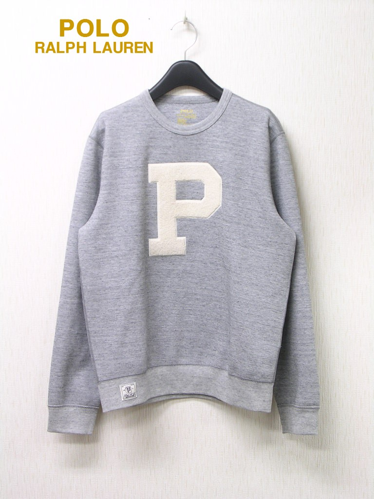 S【POLO RALPH LAUREN PATCHED DOUBLE-KNIT CREW SWEAT 710691256001 GREY HEATHER ポロラルフローレン/クルーネックスウェット/グレー】【美中古】
