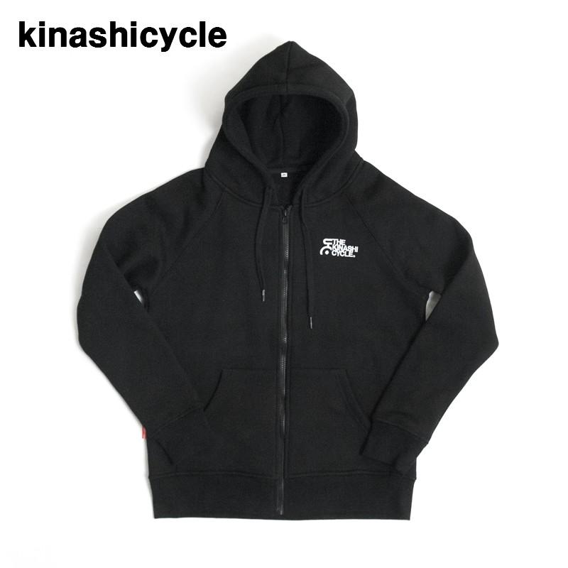 M BLACK【木梨サイクル 肉厚ジップパーカー2 キナシサイクル THE KINASHI CYCLE刺繍 スウェットZipパーカー 黒 ブラック】