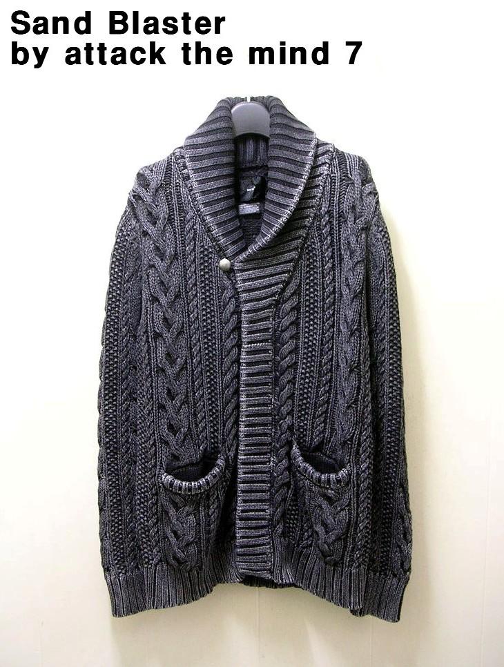 3 【SandBlaster by attack the mind 7 BLK INDIGO Cable shawl cardigan サンドブラスター ブラック インディゴ ケーブル ショール カーディガン】art:SBID-006CT01【中古】