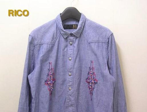 M 【RICO リコ ビーズ シャンブレーシャツ】 06-11H-2521