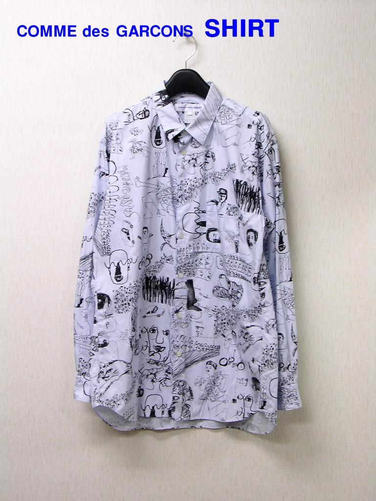 L【COMME des GARCONS SHIRT Illustrated Print Shirt 長袖 イラスト柄 シャツ LIGHT BLUE プリント シャツ MASAHO ANOTANI W24065】【中古】