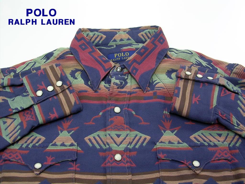 S 【Polo Ralph Lauren ポロ・ラルフローレン ネイティブウェスタンシャツ】【美中古】