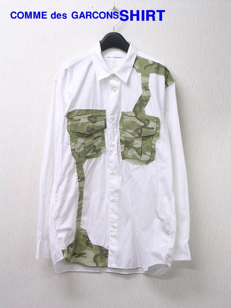L【COMME des GARCONS SHIRT Cotton Poplin Plain x Cotton Ripstop Camo Print S25033 コム デ ギャルソン シャツ 長袖シャツ 迷彩 カモ】【中古】