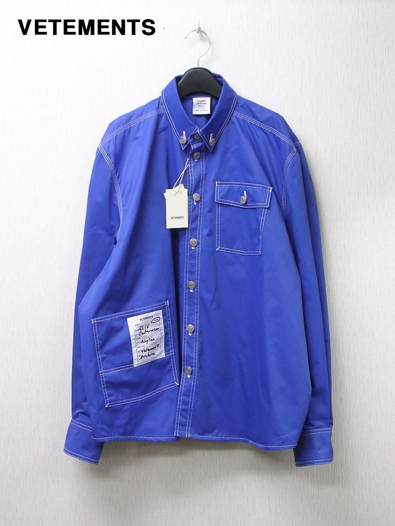 L メンズ Blue【VETEMENTS MSS18SH20 ヴェトモン パッチ付きワーク長袖シャツ シャツジャケット】【中古】