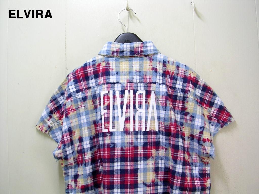 L【ELVIRA BLEACH CHECK SLEEVELESS SHIRT -RED- エルビラ エルヴィラ ブリーチ チェックシャツ スリーブレス】