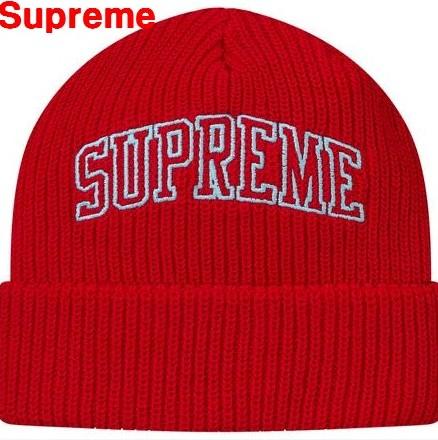 Red Supreme Loose Gauge Arc Beanie オーバーのアイテム取扱☆ シュプリーム ルーズ 上質 帽子 17AW 17FW ニットキャップ ゲージ ビーニー アクリル