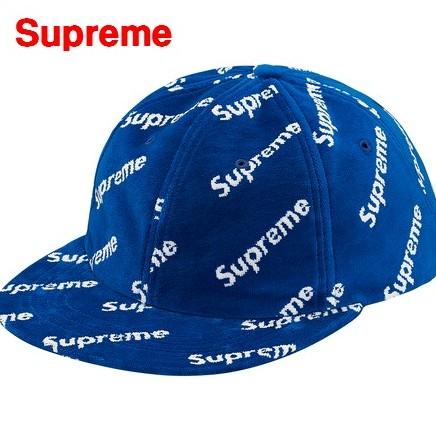 BLUE 【Supreme シュプリーム 17AW Velour Diagonal Logo 6-Panel 総柄ベロアキャップ ブルー】