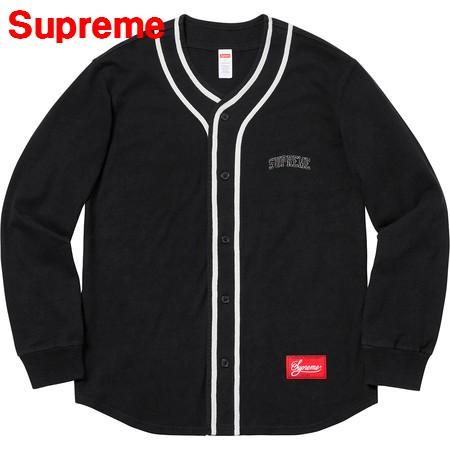 M Black【Supreme 18AW Color Blocked Baseball Top シュプリーム ベースボールシャツ】