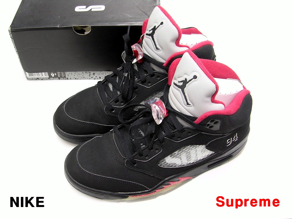 9.5(27.5cm) Black【Supreme x NIKE AIR JORDAN5 RETRO 827371-001 シュプリーム ナイキ エア ジョーダン5 BLACK/WHITE-VARSITY RED】【中古】