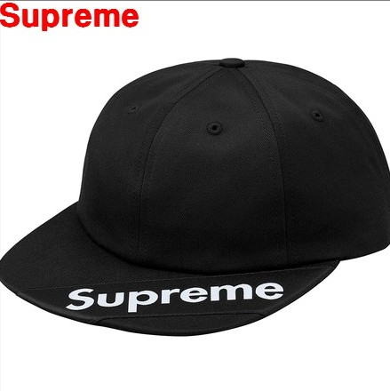 Black【2018SS Supreme Visor Label 6-Panel シュプリーム バイザー ラベル 6パネル キャップ 帽子 ロゴキャップ 18SS ブラック 黒 BOX LOGO ボックスロゴ】