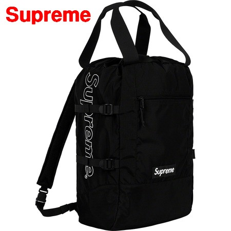 Black【Supreme 19SS Tote Backpack シュプリーム トートバックパック トートバッグ リュック 2WAY 黒 ブラック 2019SS 国内正規品】