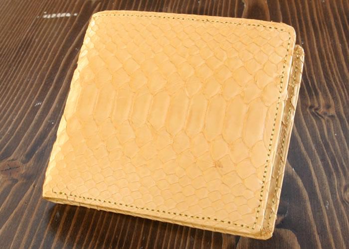 【国内縫製】風水パワーのラッキーカラー!!! 蛇革二つ折牛裏財布(黄)