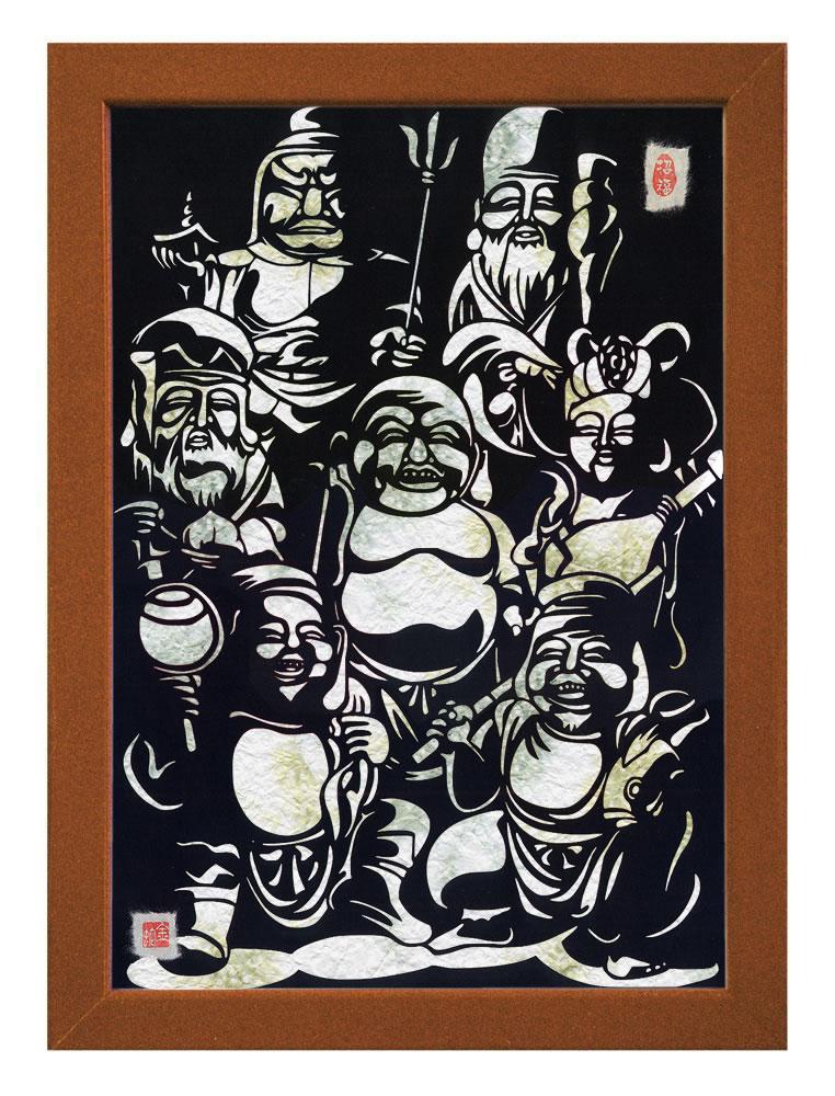 【送料無料】A3サイズの額装仕立て開運切り絵『七福神 - 全員集合 - 』 当店オリジナルデザインのスペシャルアイテムです!!! ※台紙には薄染め和紙(若竹)を使用しています