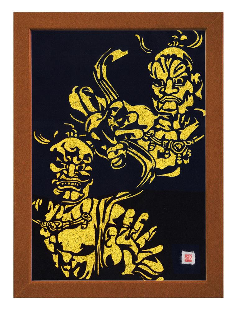 【送料無料】A3サイズの額装仕立て邪気祓い切り絵『東大寺・金剛力士像 - 阿吽 - 』 当店オリジナルデザインのスペシャルアイテムです!!! ※台紙には金紙を使用しています