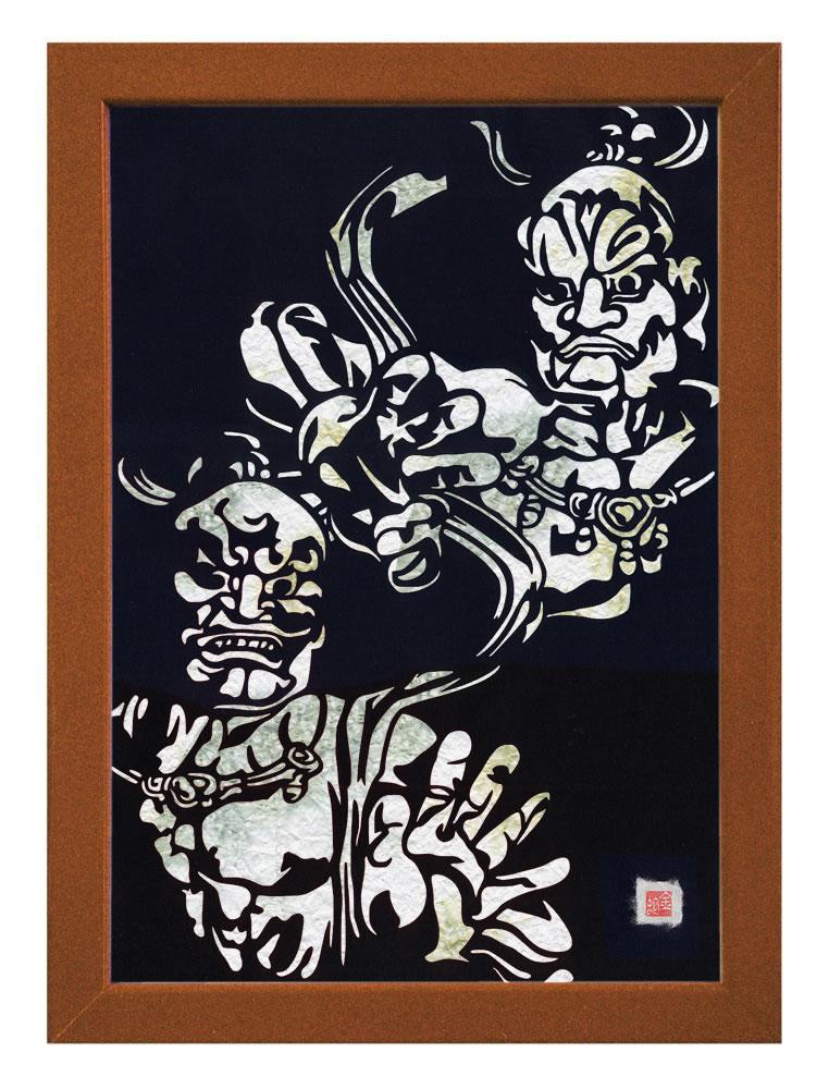 【送料無料】A3サイズの額装仕立て邪気祓い切り絵『東大寺・金剛力士像 - 阿吽 - 』 当店オリジナルデザインのスペシャルアイテムです!!! ※台紙には薄染め和紙(若竹)を使用しています