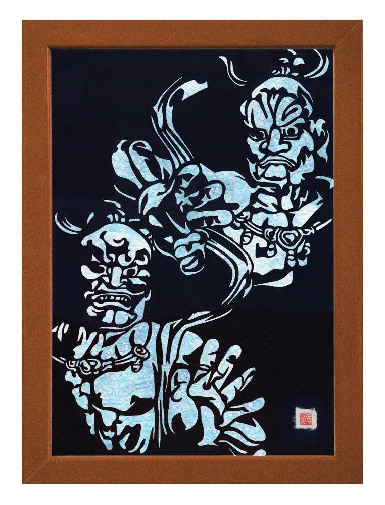 【送料無料】A3サイズの額装仕立て邪気祓い切り絵『東大寺・金剛力士像 - 阿吽 - 』 当店オリジナルデザインのスペシャルアイテムです!!! ※台紙には薄染め和紙(浅葱)を使用しています
