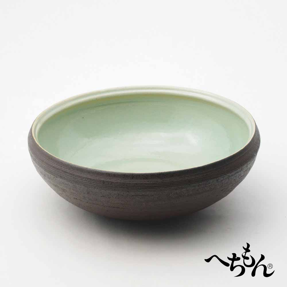【送料無料】【信楽焼】へちもん 黒あさぎ 平水鉢