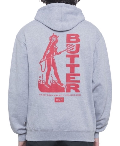 HUF X Butter Goods Devil Pullover Hoodie Heather Grey S パーカー 送料無料