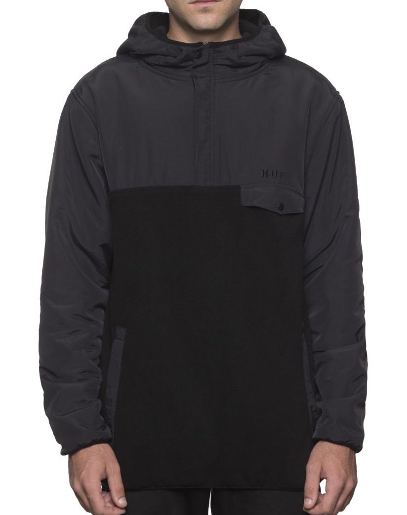 HUF Muir Hooded Pullover Jacket Black S パーカー 送料無料