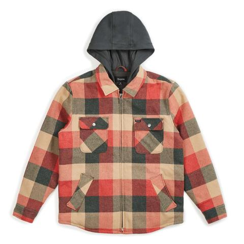 Brixton Bowery L/S Hooded Flannel Shirt Black/Red S 送料無料