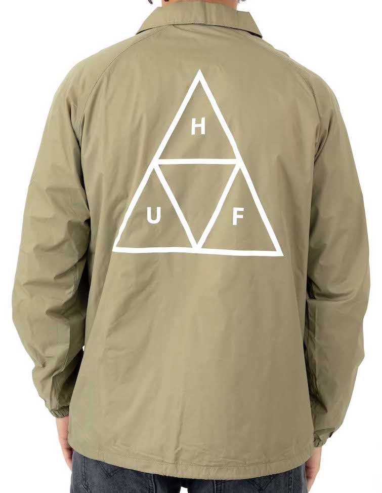 HUF Essentials Triple Triangle Coaches Jacket Elmwood L コーチジャケット 送料無料