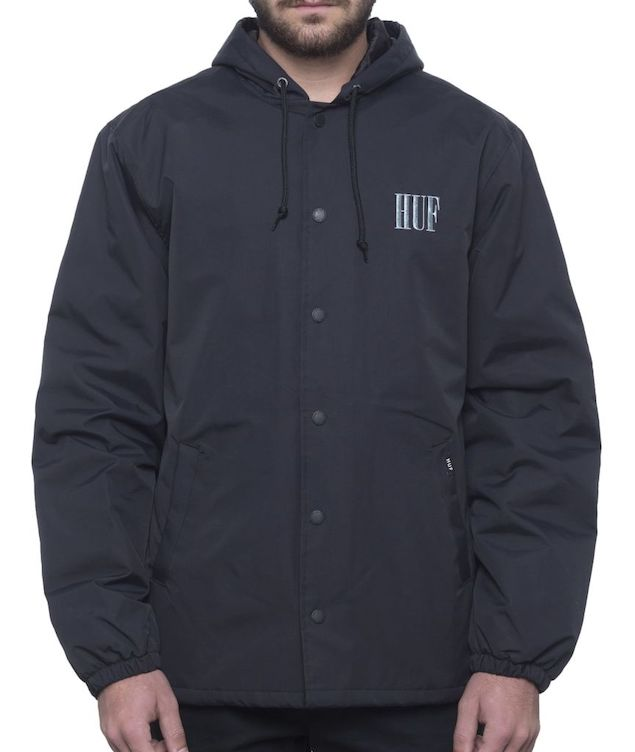HUF Serif Quilted Coaches Jacket Black S 送料無料