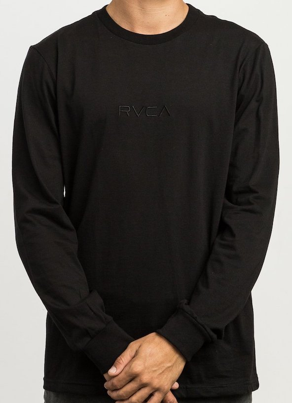 RVCA Small RVCA Embroidered Long Sleeve T-Shirt Black M 送料無料