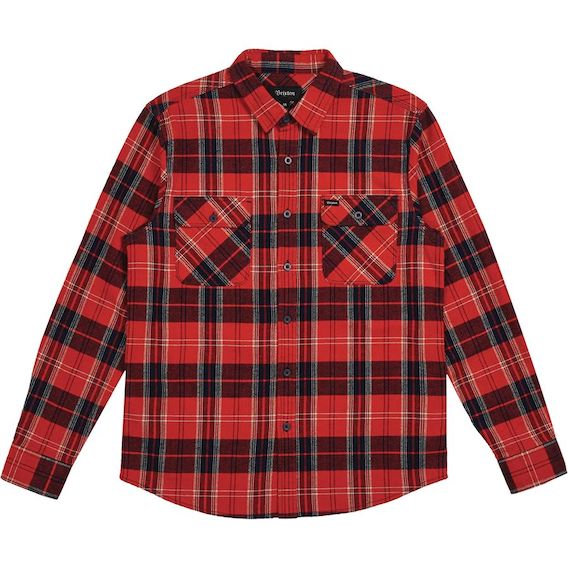 Brixton Bowery L/S Flannel Shirt Red/Navy S ネルシャツ 送料無料