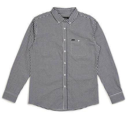 Brixton Howl L/S Woven Shirt Navy/Off White M シャツ 送料無料