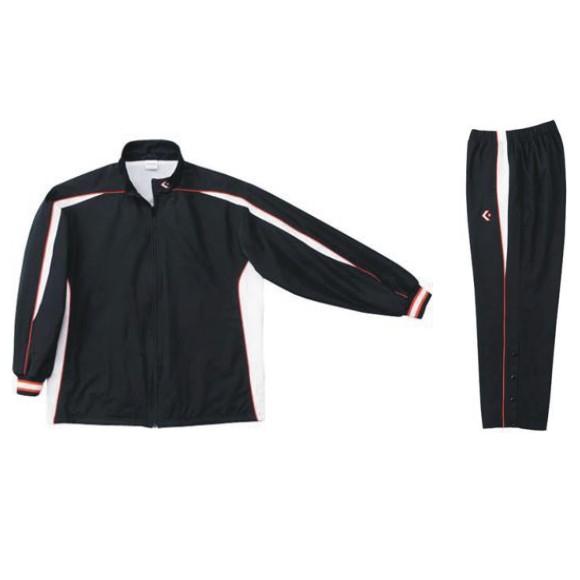 コンバース ウォームアップジャケット&ウォームアップパンツセット ブラック×ホワイト CB182501S-1911 & CB182501P-1911 ネーム刺繍無料