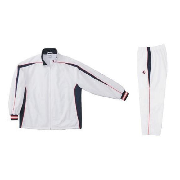 コンバース ウォームアップジャケット&ウォームアップパンツセット ホワイト×ネイビー CB182501S-1129 & CB182501P-1129 ネーム刺繍無料