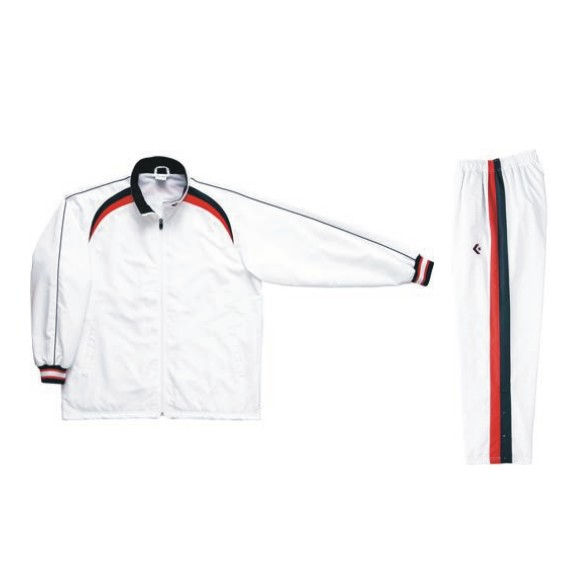 コンバース ウォームアップジャケット&ウォームアップパンツセット ホワイト×ネイビー CB162506S-1129&CB162506P-1129 ネーム刺繍無料