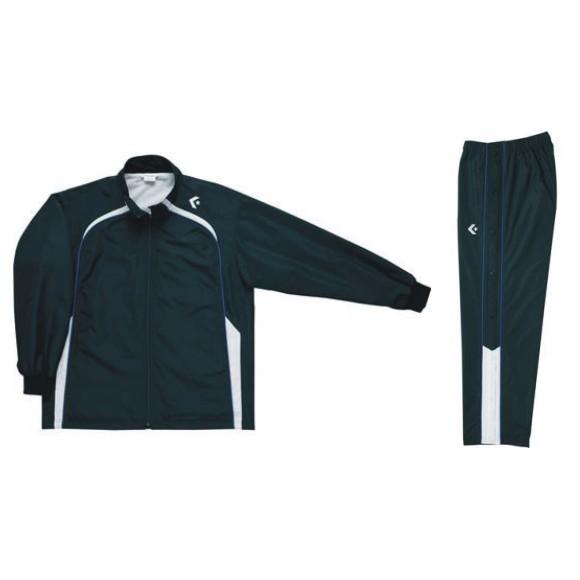 コンバース ウォームアップジャケット&ウォームアップパンツセット ブラック×ホワイト CB62501S-1911 & CB162501P-1911 ネーム刺繍無料