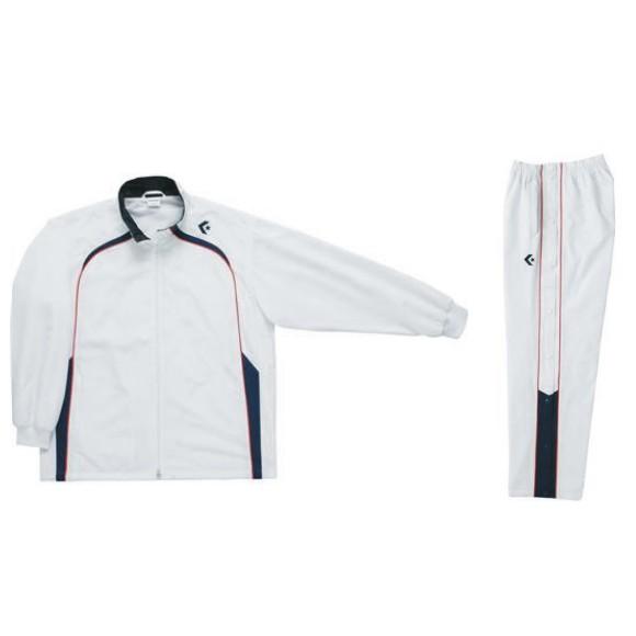 コンバース ウォームアップジャケット&ウォームアップパンツセット ホワイト×ネイビー CB162501S-1129 & CB162501P-1129 ネーム刺繍無料