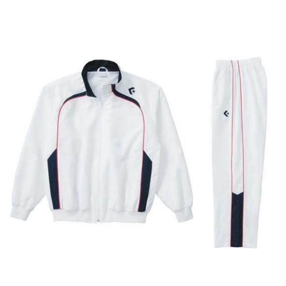 コンバース ウォームアップジャケット&ウォームアップパンツセット ホワイト×ネイビー CB162502S-1129 & CB162502P-1129 ネーム刺繍無料