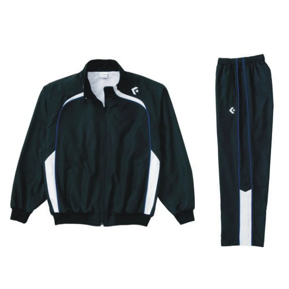 コンバース ウォームアップジャケット&ウォームアップパンツセット ブラック×ホワイト CB162502S-1911 & CB162502P-1911 ネーム刺繍無料