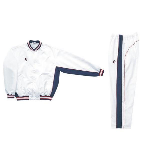 コンバース ウォームアップジャケット&ウォームアップパンツセット ホワイト×ネイビー CB182112S-1129 & CB182112P-1129 ネーム刺繍無料 送料無料