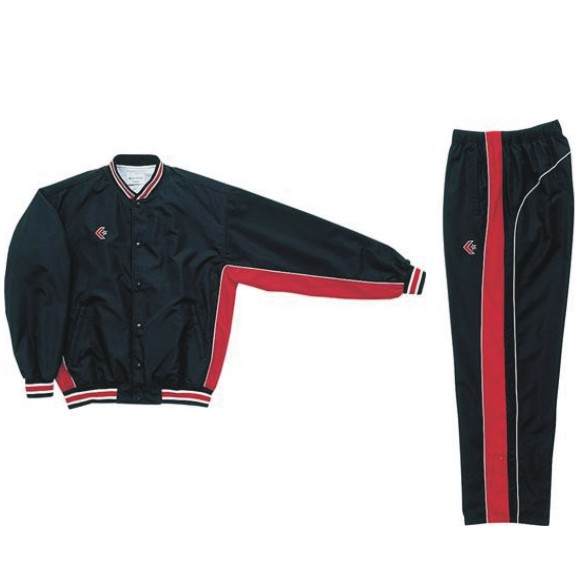 コンバース ウォームアップジャケット&ウォームアップパンツセット ブラック×レッド CB182112S-1964 & CB182112P-1964 ネーム刺繍無料 送料無料