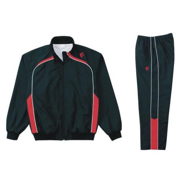 コンバース ウォームアップジャケット&ウォームアップパンツセット ブラック×レッド CB162502S-1964 & CB162502P-1964 ネーム刺繍無料
