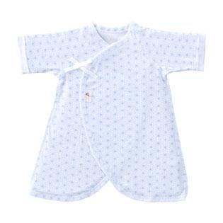 【あす楽対応】新生児ウエア 赤ちゃんの城 コンビ肌着 麻の葉柄 フライス サックス