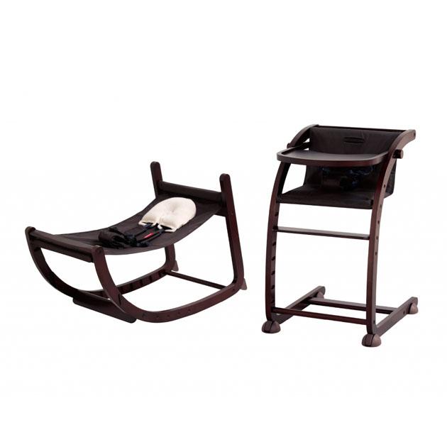 ベビーチェア farska 本店 Scroll Chair ダークブラウン×ブラウン ファルスカ Plus スクロールチェアプラス 定番スタイル