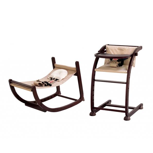 ベビーチェア farska Scroll Chair スクロールチェアプラス Plus 最新 ファルスカ 直営限定アウトレット ダークブラウン×ベージュ
