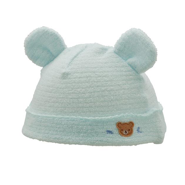 新生児ウェア ハイクオリティ mikiHOUSE ミキハウス 倉 帽子 耳付き無撚糸パイルのベビーフード ブルー