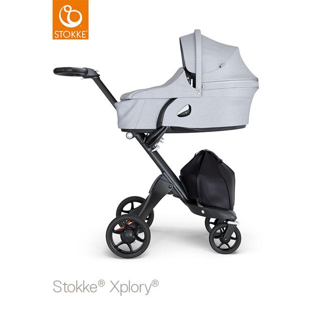 ベビーカー Stokke Xplory V6(ストッケ エクスプローリー) キャリーコットとシート グレーメラーンジ×ブラックシャーシ ブラックハンドル
