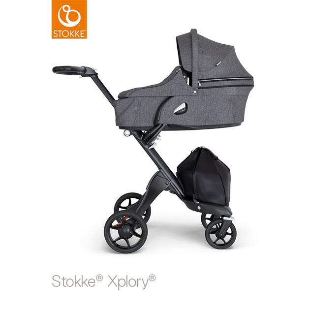 ベビーカー Stokke Xplory V6(ストッケ エクスプローリー) キャリーコットとシート ブラックメラーンジ×ブラックシャーシ ブラックハンドル