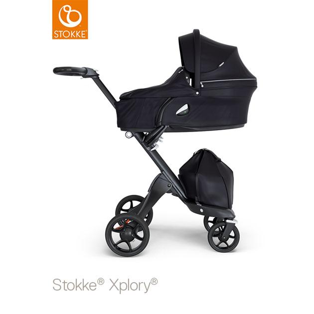 ベビーカー Stokke Xplory V6(ストッケ エクスプローリー) キャリーコットとシート ブラック×ブラックシャーシ ブラックハンドル