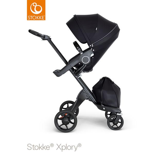 ベビーカー Stokke Xplory V6(ストッケ エクスプローリー) ブラックシャーシ ブラックハンドル×クラシックシート ブラック