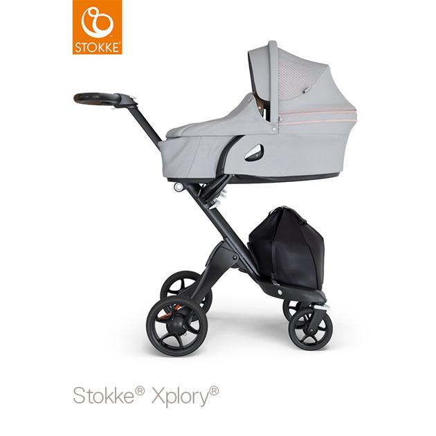ベビーカー Stokke Xplory V6(ストッケ エクスプローリー) キャリーコットとシート グレーメラーンジ×ブラックシャーシ ブラウンハンドル